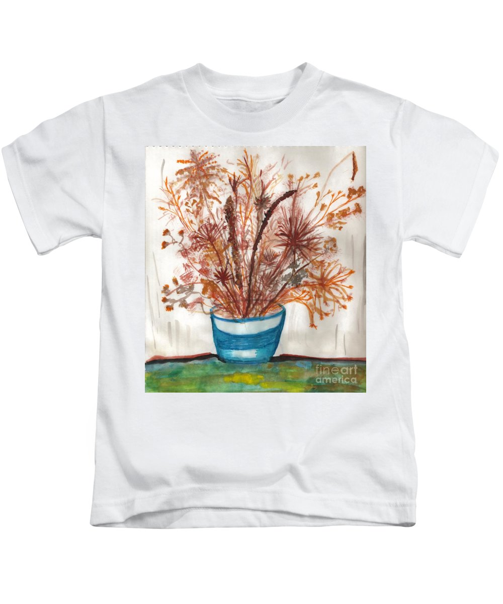 Floral Art Kids T-Shirt featuring the painting Shaylynne And Vaughn's Bouquet by Myrtle Joy