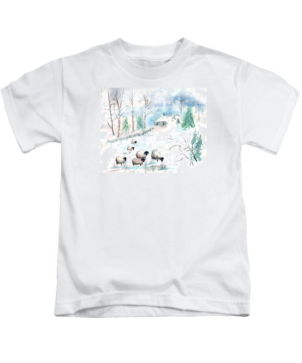 Sheep Kids T-Shirt featuring the painting Sheep In Snow by Christine Lathrop
