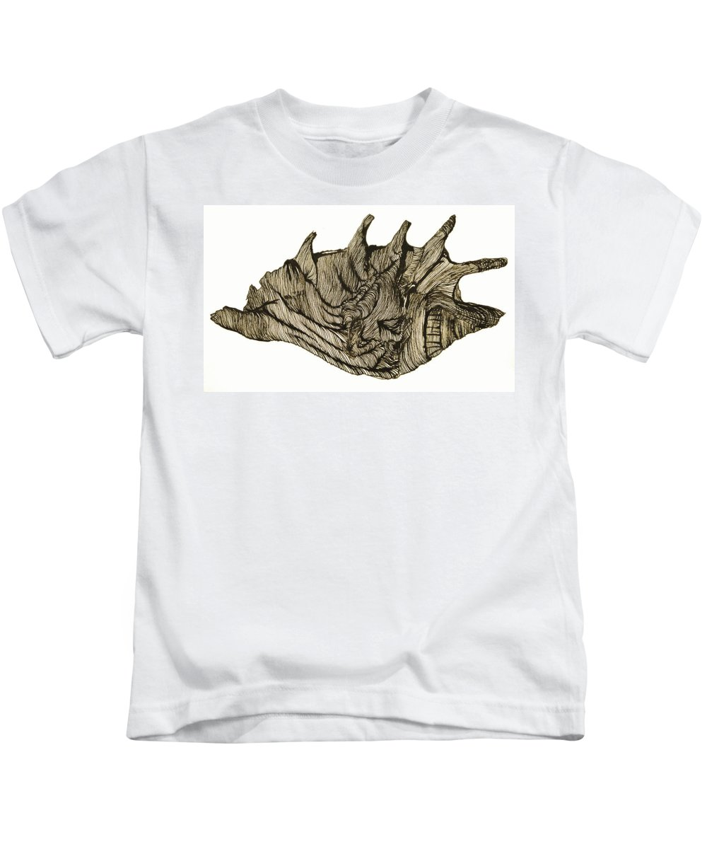 Shell Kids T-Shirt featuring the drawing Shell by Daniel P Cronin