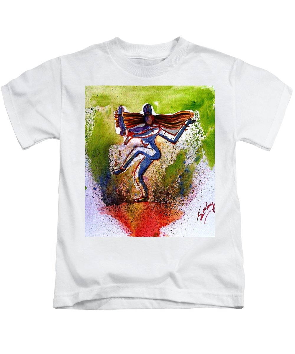Arches Kids T-Shirt featuring the painting Shiva by Sarabjit Kaur