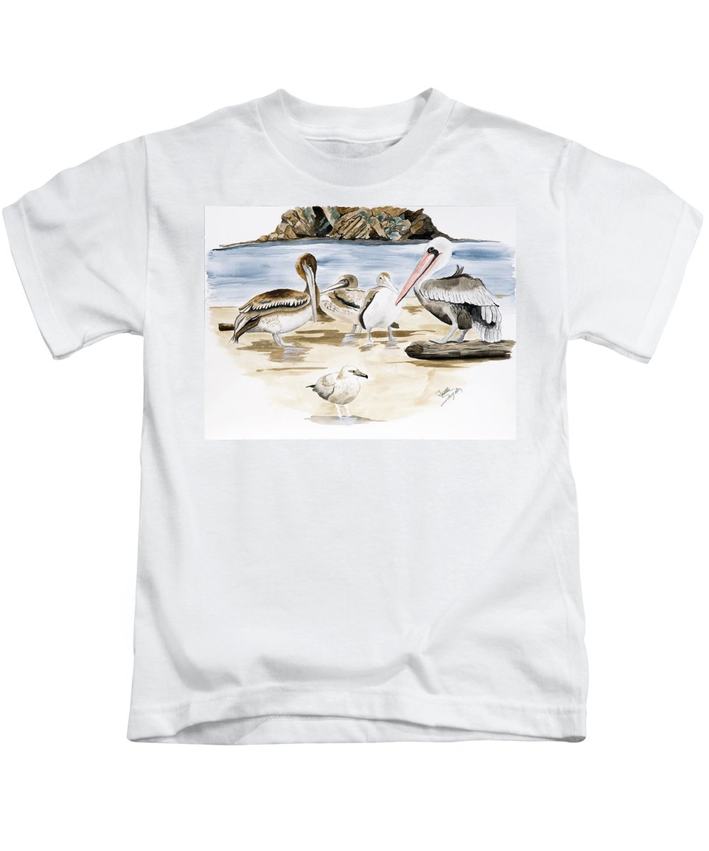 Birds Kids T-Shirt featuring the painting Shore Birds by Joette Snyder