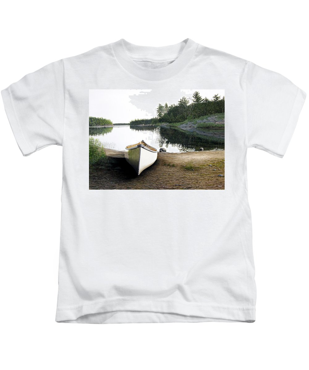 Landscapes Kids T-Shirt featuring the painting Silent Retreat by Kenneth M Kirsch