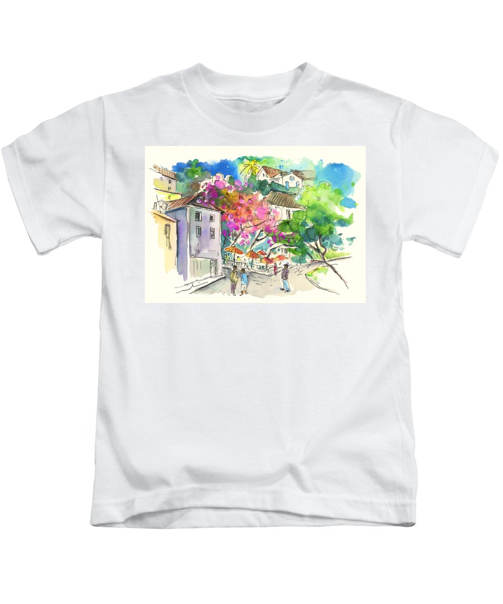 Travel Kids T-Shirt featuring the painting Sintra Square 02 by Miki De Goodaboom
