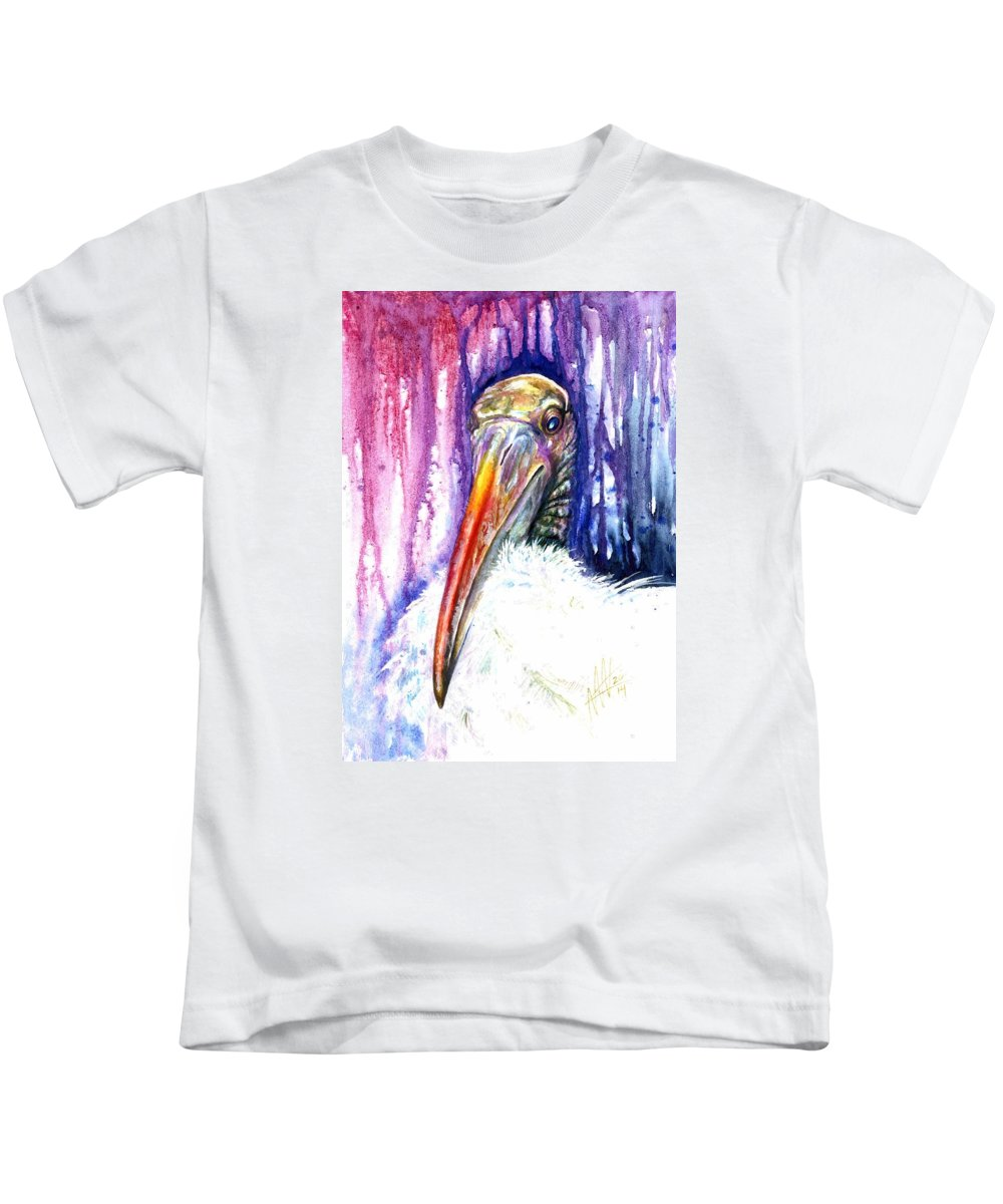 Woodstork Kids T-Shirt featuring the painting Sir Archibald Woodward Woodstork IIi by Ashley Kujan