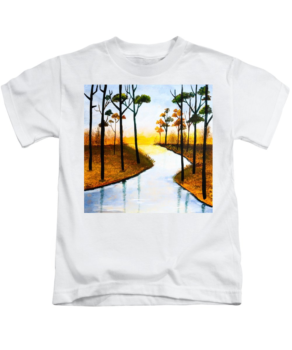 Lake Kids T-Shirt featuring the painting Sitting By The Lake by Nirdesha Munasinghe