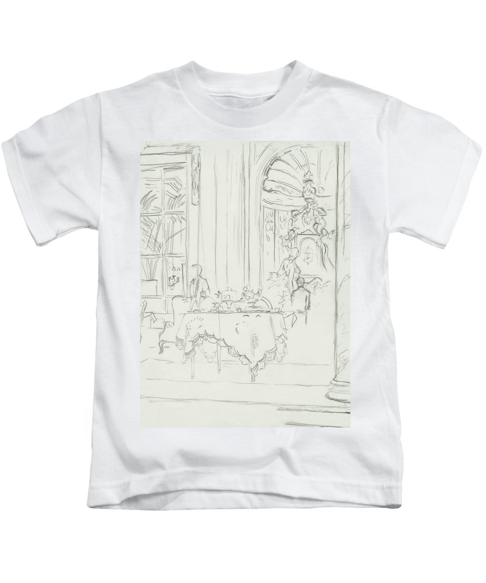 6a0c6e6bf1bb4 Sketch Of A Formal Dining Room Kids T-Shirt for Sale by Carl Oscar August  Erickson