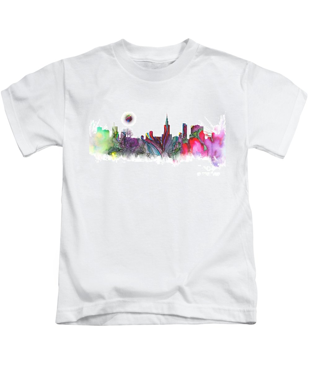 Skyline Kids T-Shirt featuring the digital art Skyline Warsaw by Justyna JBJart
