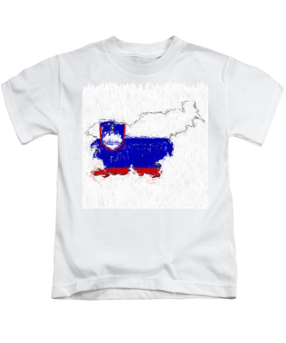 Slovenia Kids T-Shirt featuring the photograph Slovenia Painted Flag Map by Antony McAulay