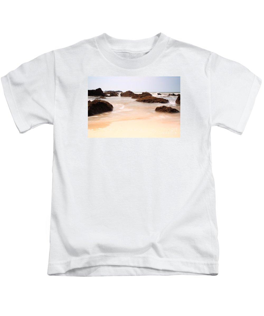 Arabian Sea Kids T-Shirt featuring the photograph Slow Shutter Sea Around Rocks by Deborah Benbrook