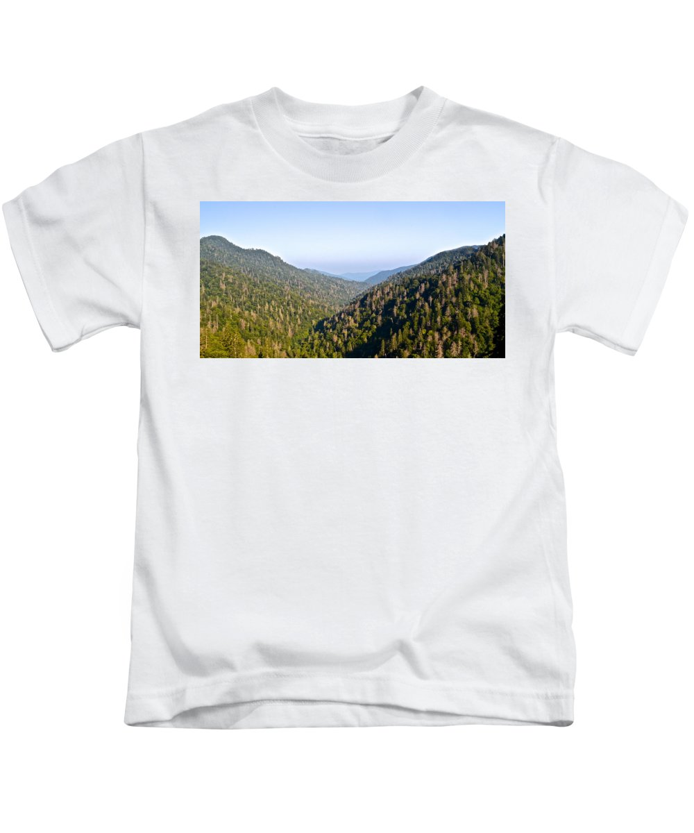 Blue Kids T-Shirt featuring the photograph Smoky Mountain View by Frozen in Time Fine Art Photography