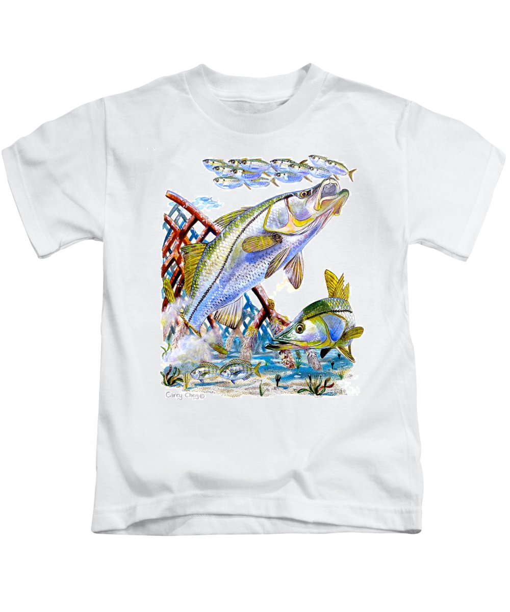 Snook Kids T-Shirt featuring the painting Snook Ambush by Carey Chen