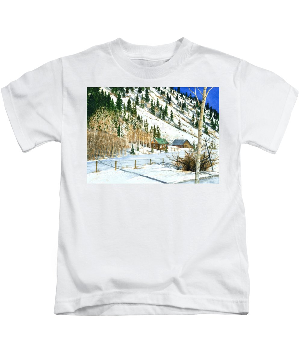 Water Color Paintings Kids T-Shirt featuring the painting Snow Bound by Barbara Jewell