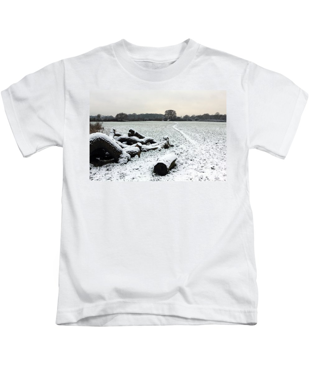 Snow In Surrey England Kids T-Shirt featuring the photograph Snow In Surrey England by Julia Gavin