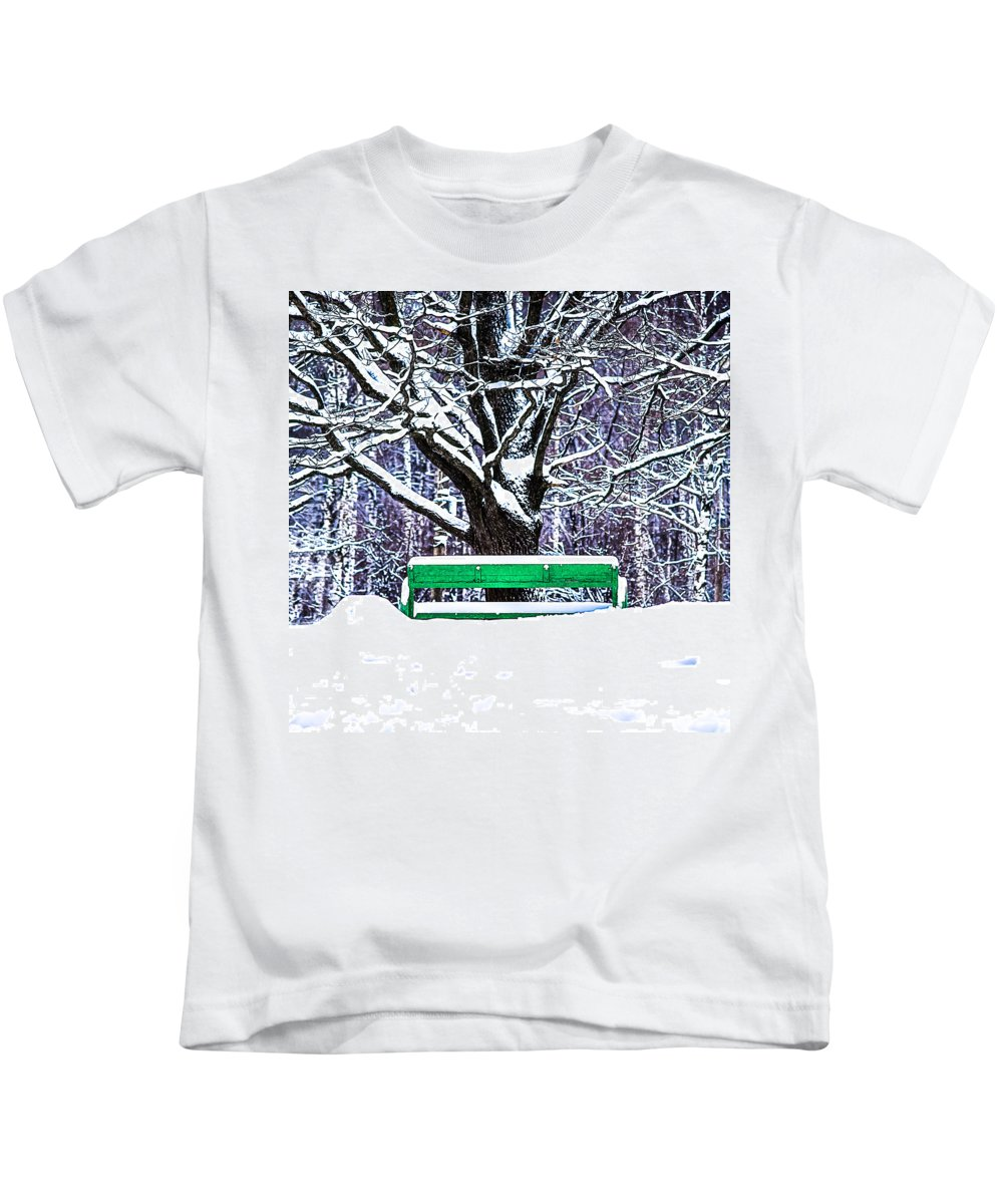 Snow Kids T-Shirt featuring the photograph Snow In The Park by Alexander Senin