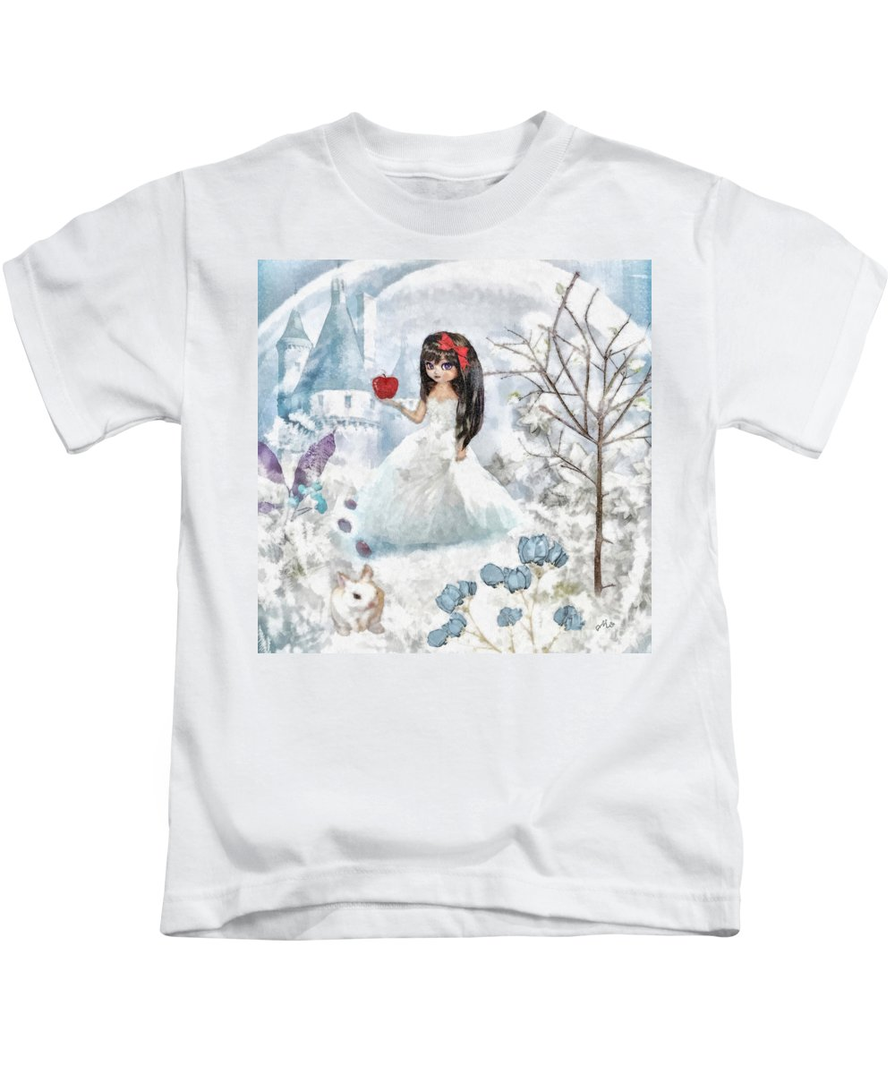 Snow White Kids T-Shirt featuring the mixed media Snow White by Mo T