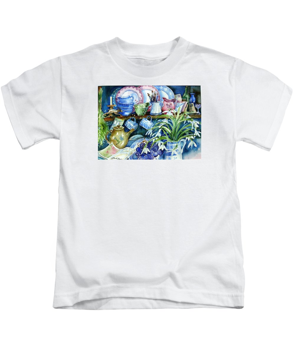Snowdrops Kids T-Shirt featuring the painting Snowdrops On A Kitchen Dresser by Trudi Doyle