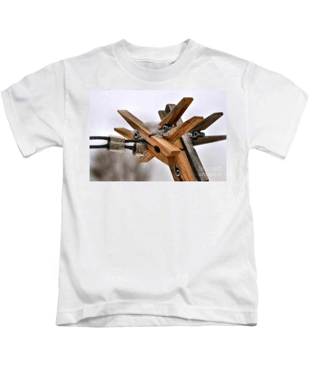 Snow Kids T-Shirt featuring the photograph Winter Laundry Day by Anjanette Douglas