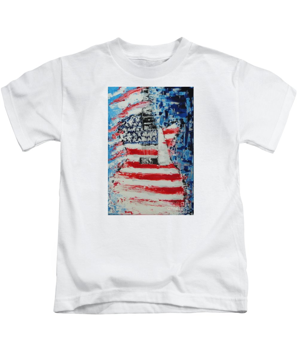 Guitar Kids T-Shirt featuring the painting So Proudly We Hail by Dan Campbell