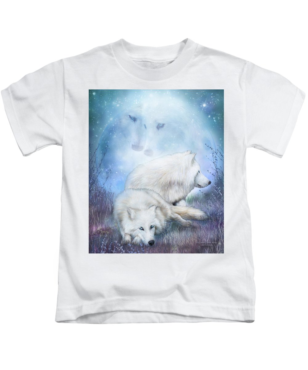 Wolf Kids T-Shirt featuring the mixed media Soul Mates - White Wolves by Carol Cavalaris