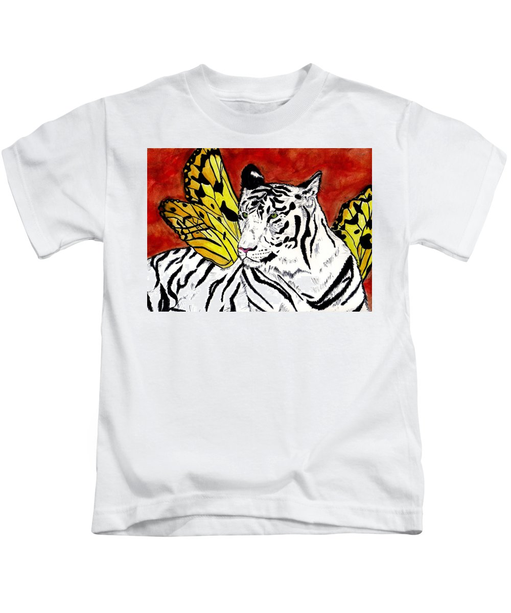 Tiger Kids T-Shirt featuring the painting Soul Rhapsody by Crystal Hubbard