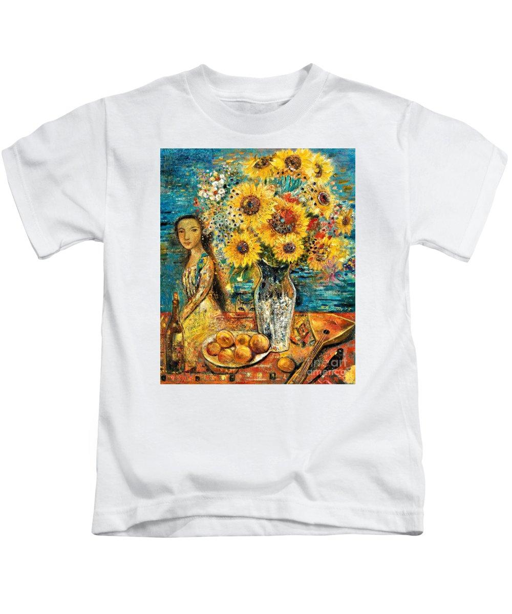 Shijun Kids T-Shirt featuring the painting Southern Sunshine by Shijun Munns