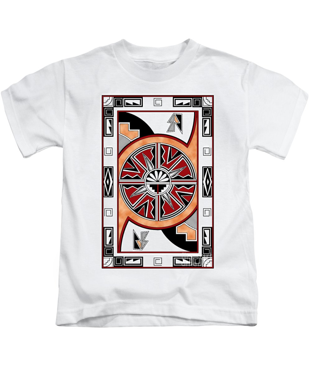 Southwest Kids T-Shirt featuring the digital art Southwest Collection - Design Six In Red by Tim Hightower