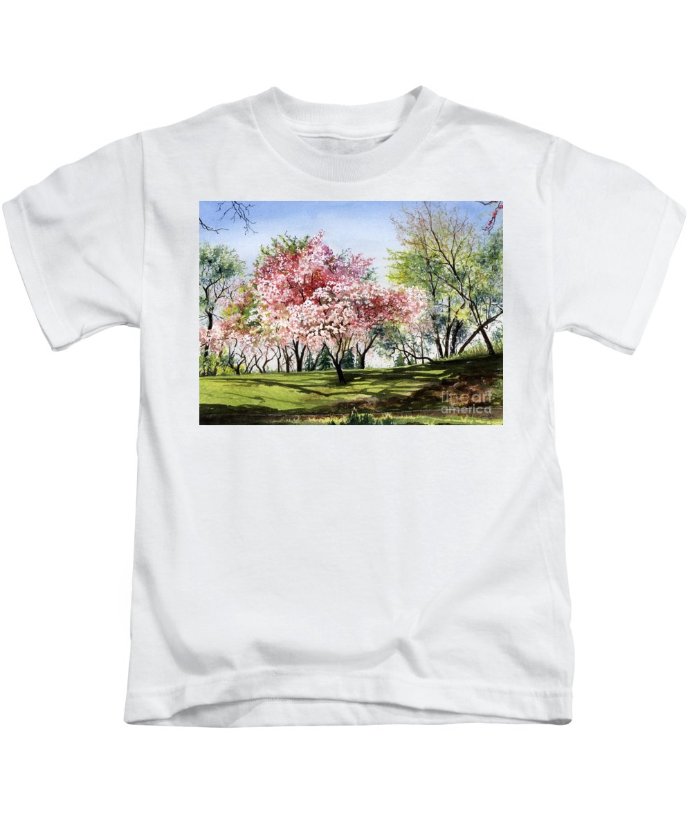 Flowers Kids T-Shirt featuring the painting Spring Morning by Barbara Jewell