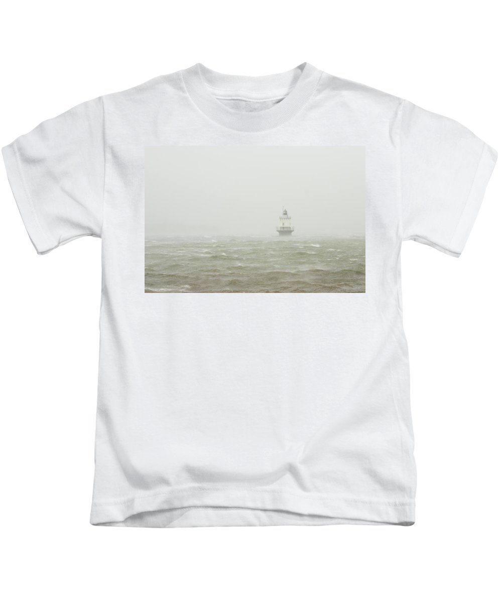 Maine Lighthouses Kids T-Shirt featuring the photograph Spring Point Ledge Lighthouse In Storm In Portland Maine by Keith Webber Jr