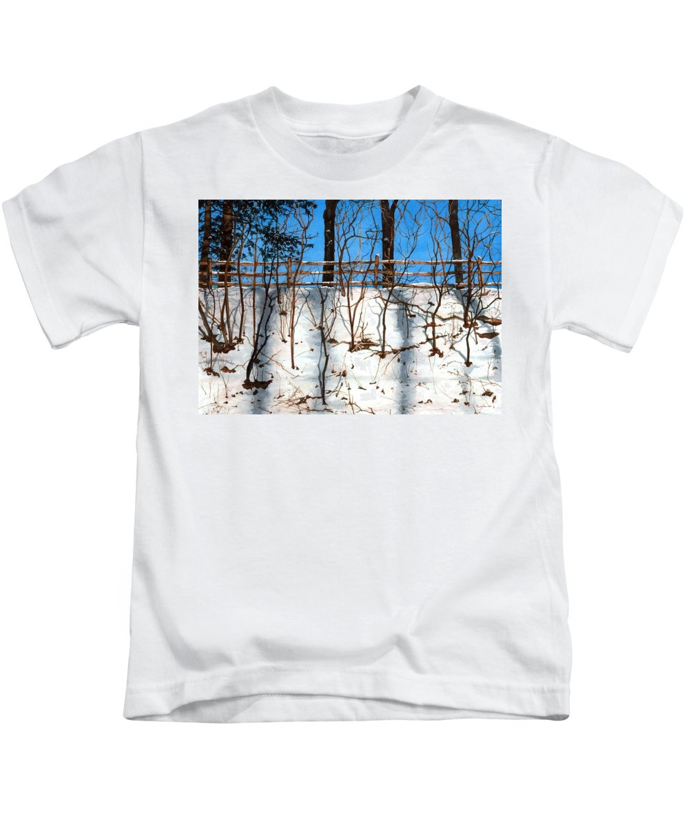 Water Color Paintings Kids T-Shirt featuring the painting Spring Snow by Barbara Jewell