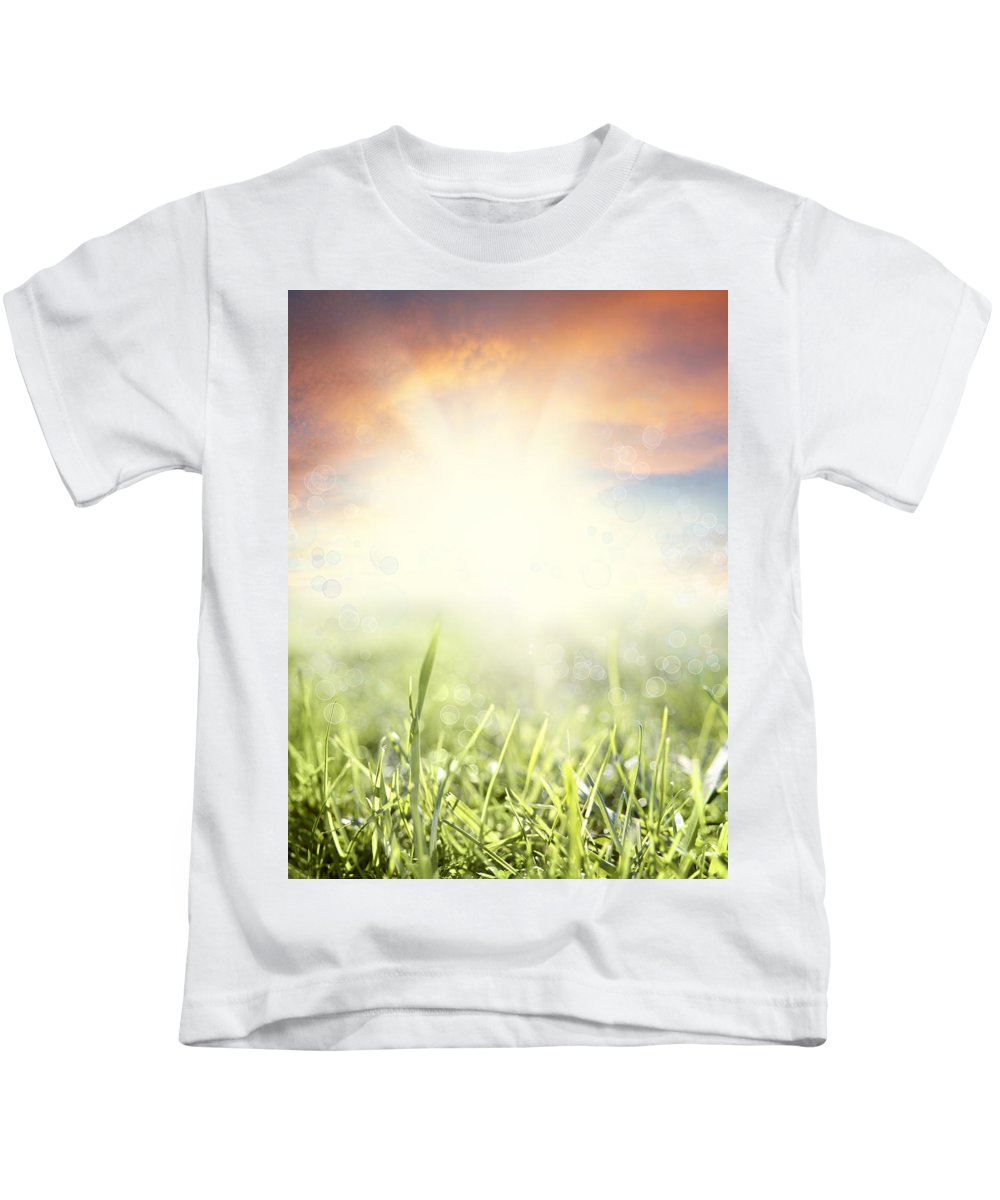 Beauty Kids T-Shirt featuring the photograph Spring Sun by Les Cunliffe
