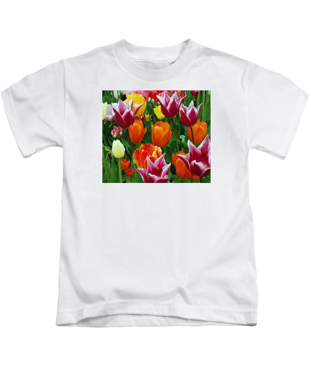 Tulips Kids T-Shirt featuring the photograph Spring Tulips by Jane Harris