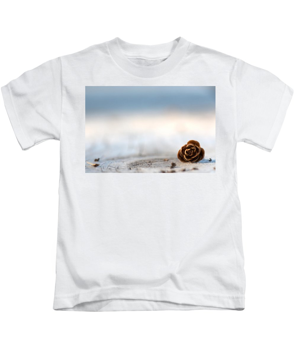 Pine Cone Kids T-Shirt featuring the photograph Squirrel Leftovers by Lisa Knechtel