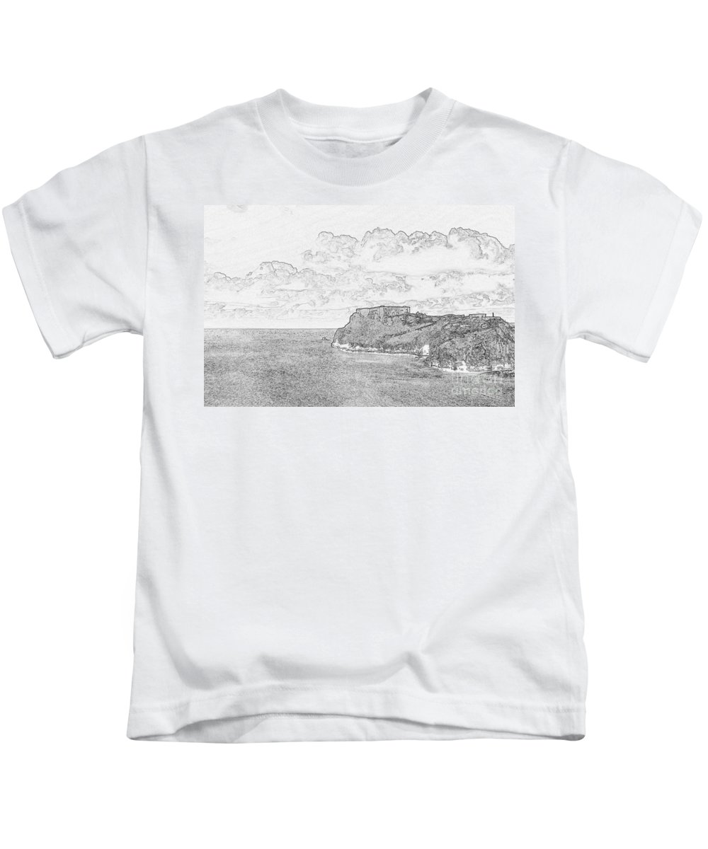 Tenby Kids T-Shirt featuring the photograph St Catherines Rock Tenby 2 by Steve Purnell