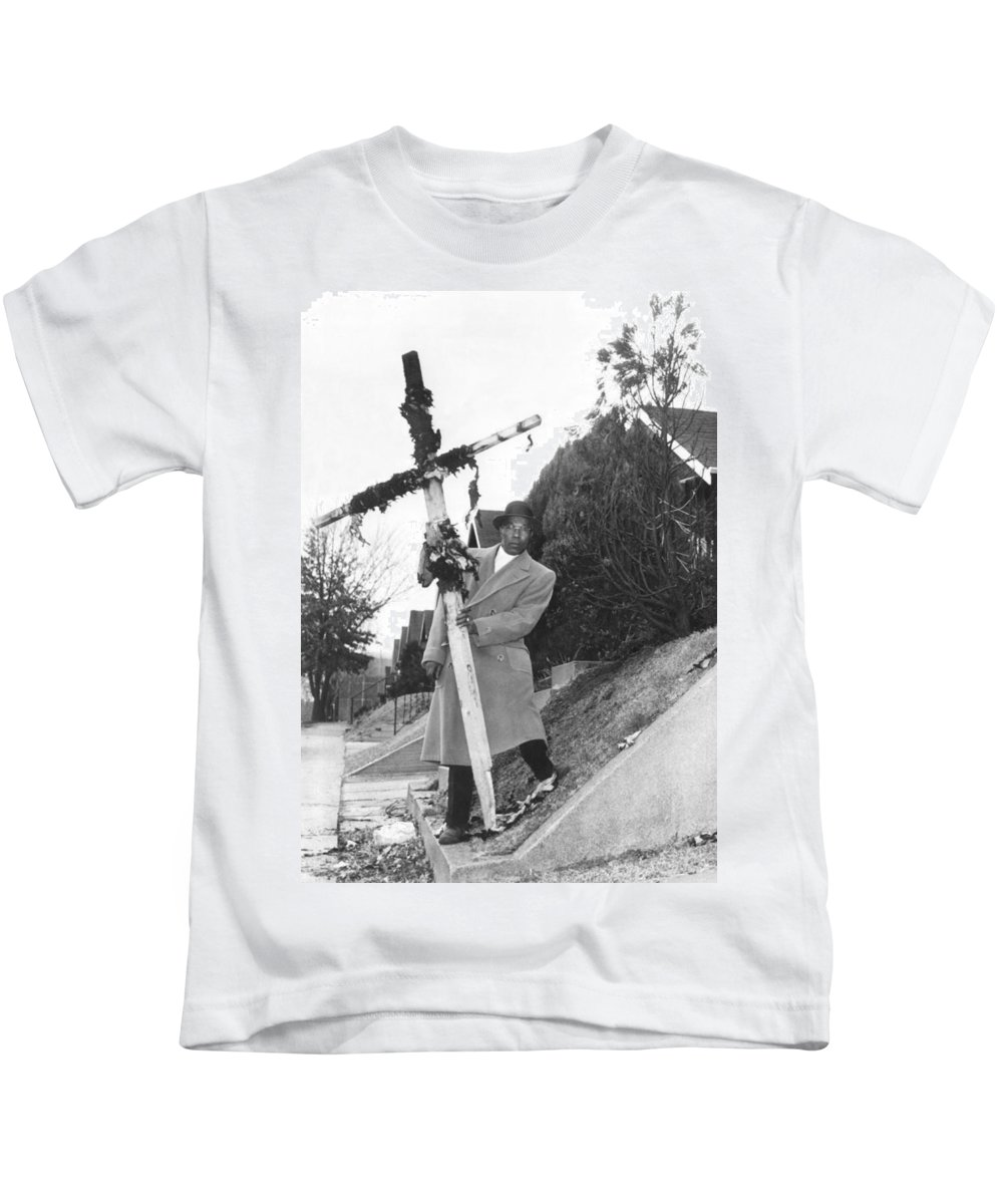 1 Person Kids T-Shirt featuring the photograph St. Lousi Cross Burning by Underwood Archives