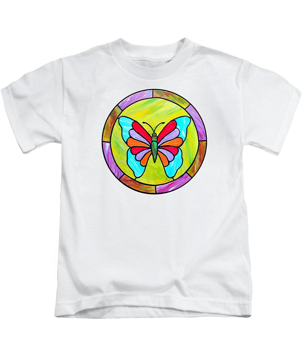 Butterfly Kids T-Shirt featuring the painting Stained Glass Butterfly by Jim Harris