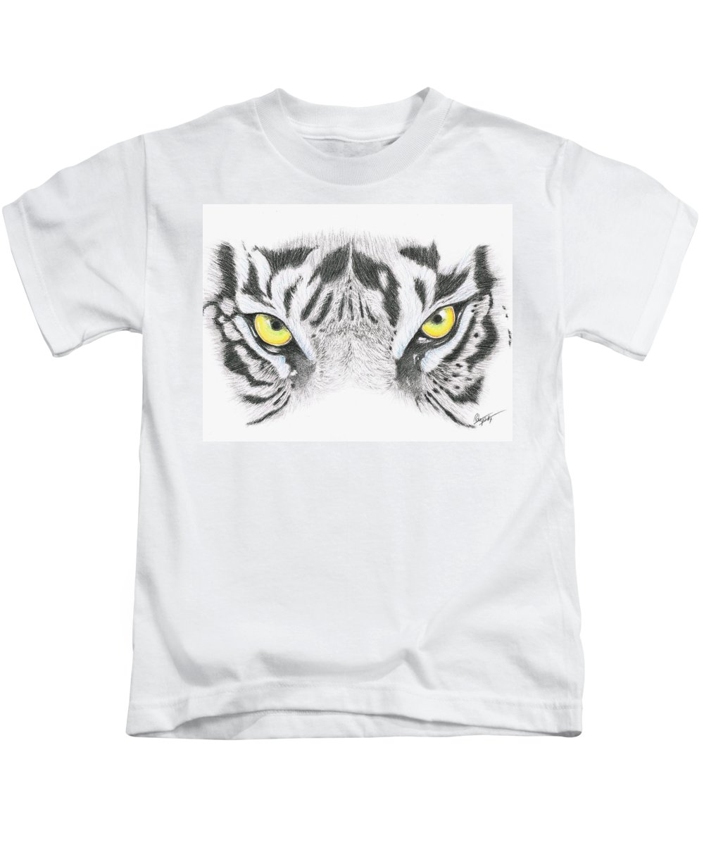 Nature Kids T-Shirt featuring the drawing Stare by Robyn Green