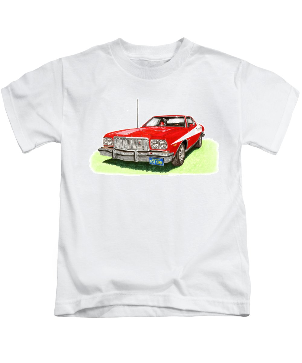 Movie Cars Kids T-Shirt featuring the painting Starsky Hutch 1974 Ford Gran Torino Sport by Jack Pumphrey