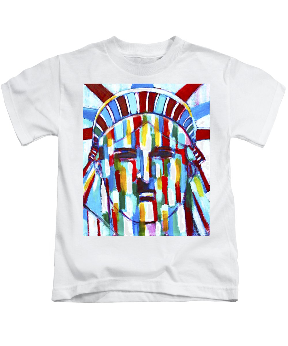 Abstract Kids T-Shirt featuring the painting Statue Of Liberty With Colors by Habib Ayat