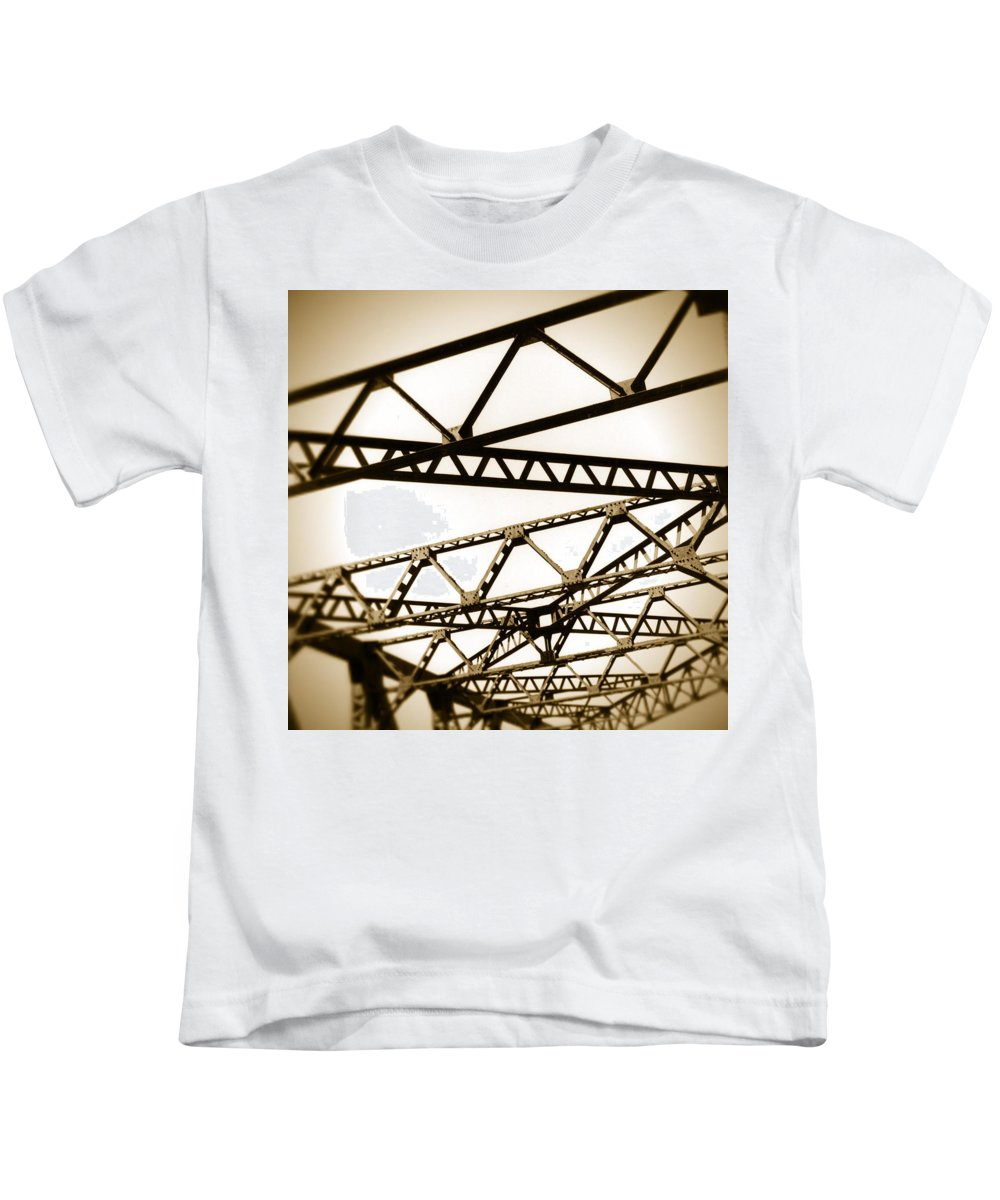 Steel Kids T-Shirt featuring the photograph Steel Lines by Timothy Bischoff