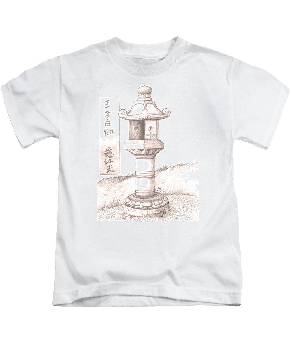 Stone Kids T-Shirt featuring the drawing Stone Lantern II by Jeffrey Oleniacz