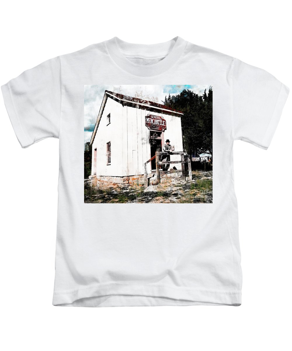 General Mercantile 1851 Kids T-Shirt featuring the photograph Store - General Mercantile by L Wright