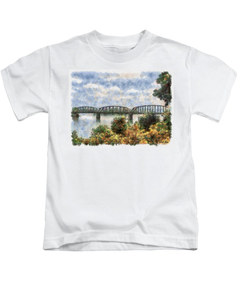 Strang Kids T-Shirt featuring the painting Strang Bridge by Jeffrey Kolker