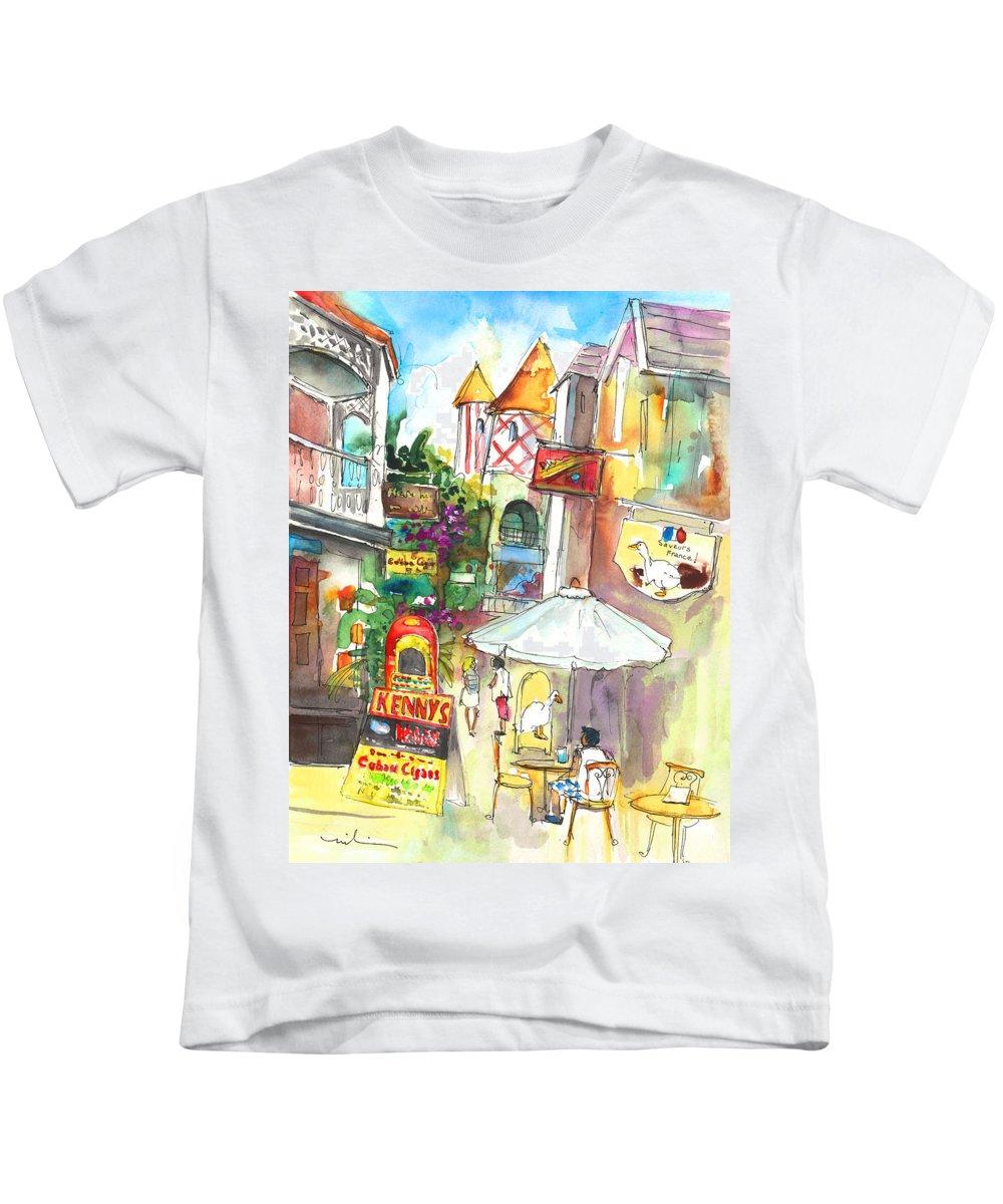 Caribbean Art Kids T-Shirt featuring the painting Street In Saint Martin by Miki De Goodaboom