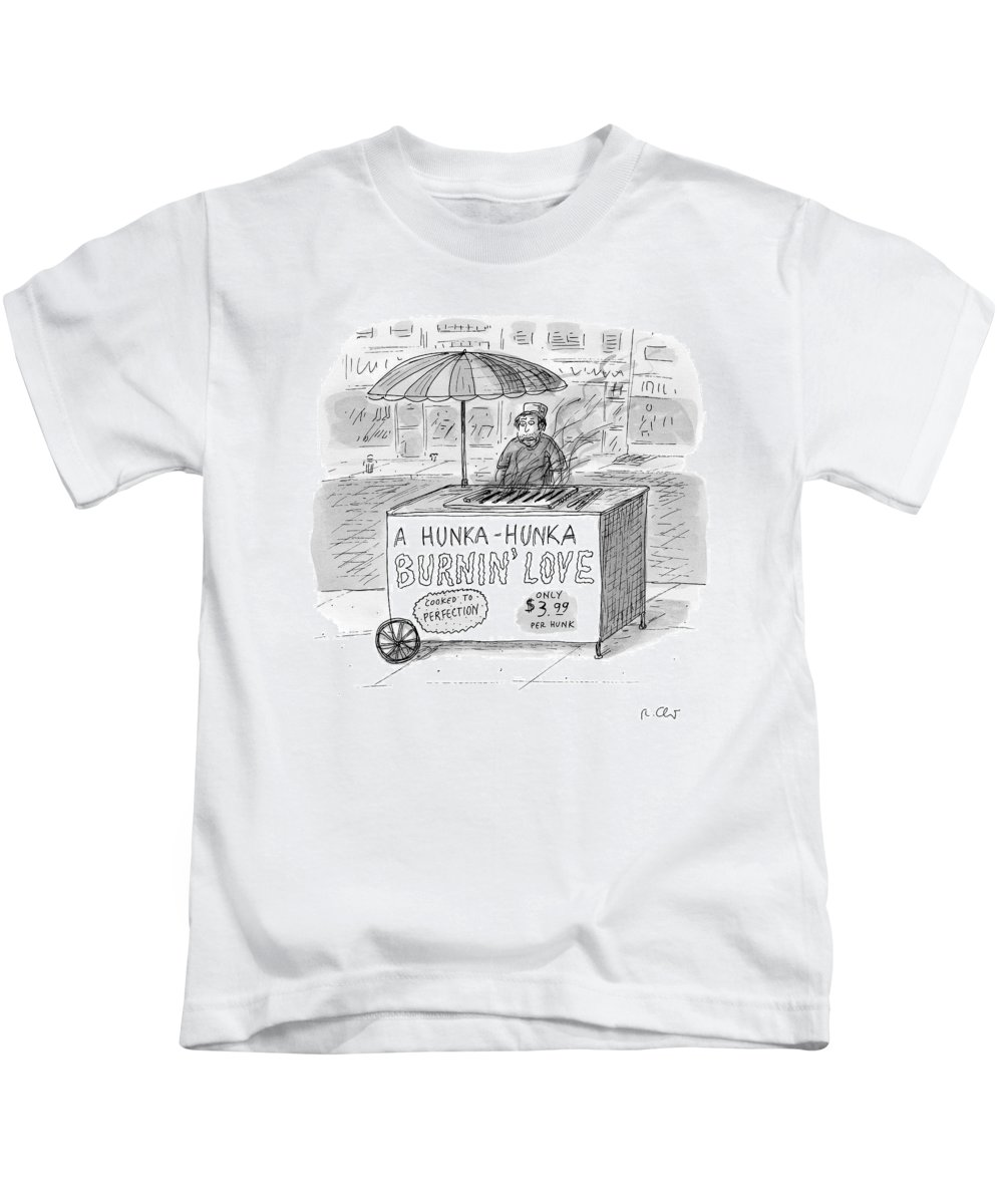 Love Kids T-Shirt featuring the drawing Street Vendor Stands Behind His Cart by Roz Chast