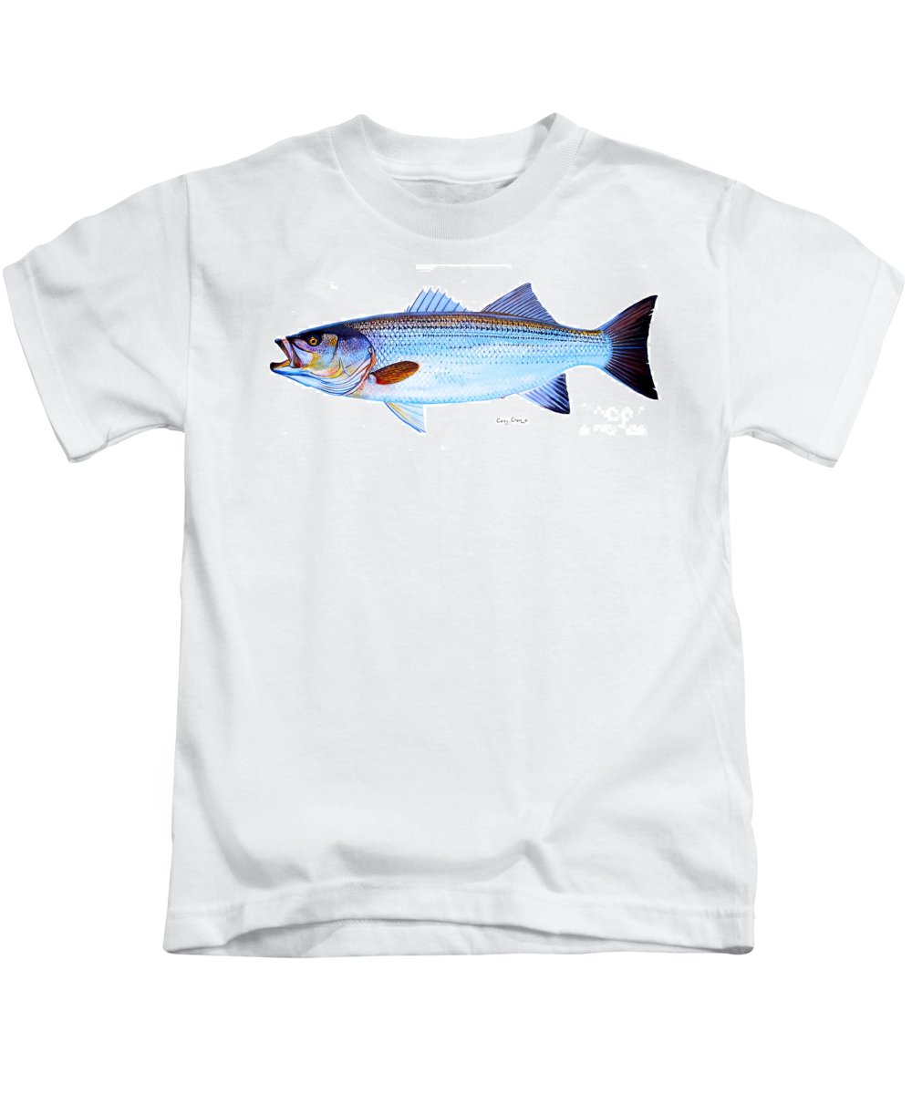Striped Bass Kids T-Shirt featuring the painting Striped Bass by Carey Chen
