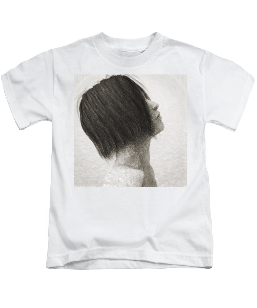 Portrait Kids T-Shirt featuring the drawing Su by Zapista