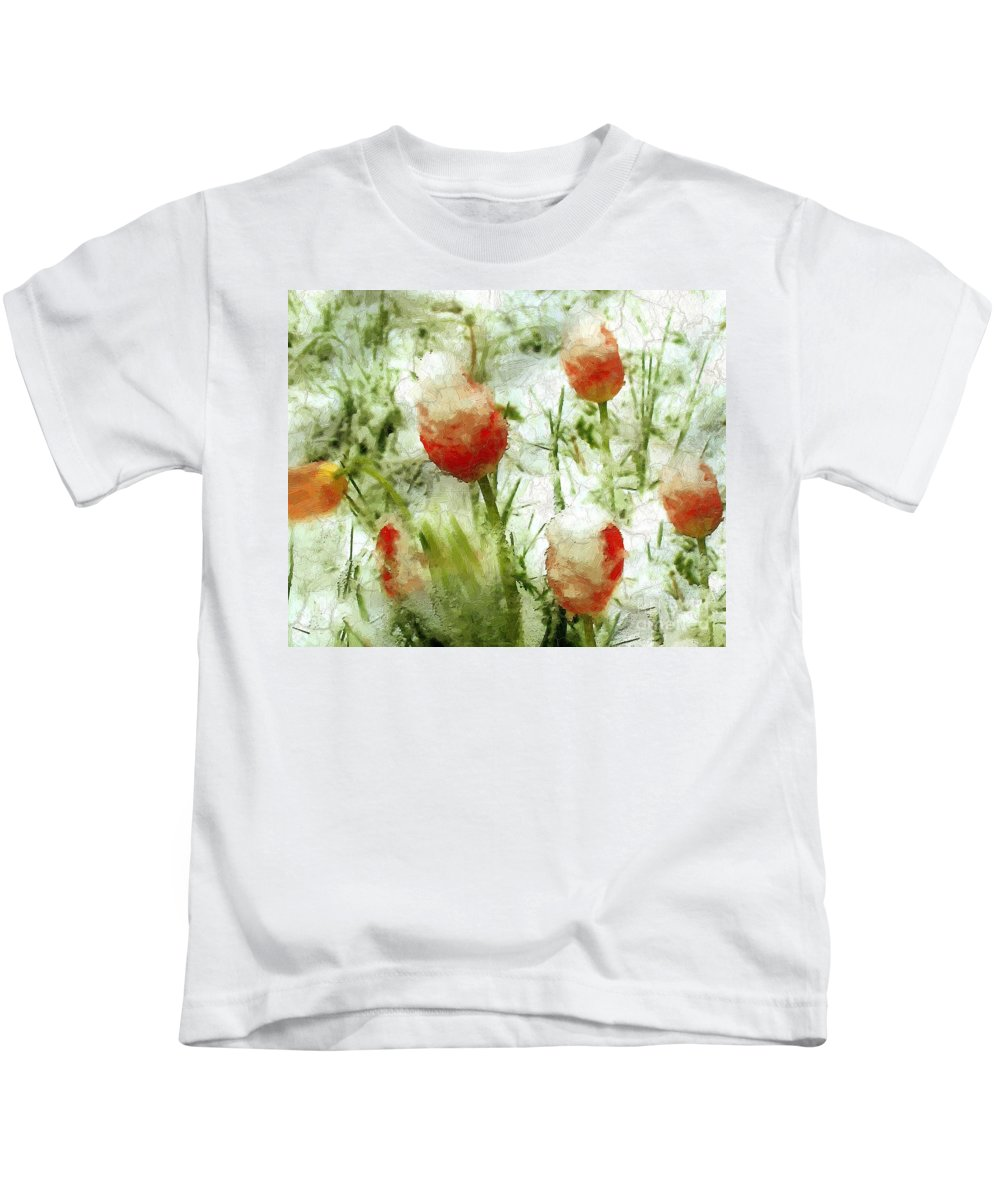 Tulips Kids T-Shirt featuring the painting Suddenly Snow by RC DeWinter