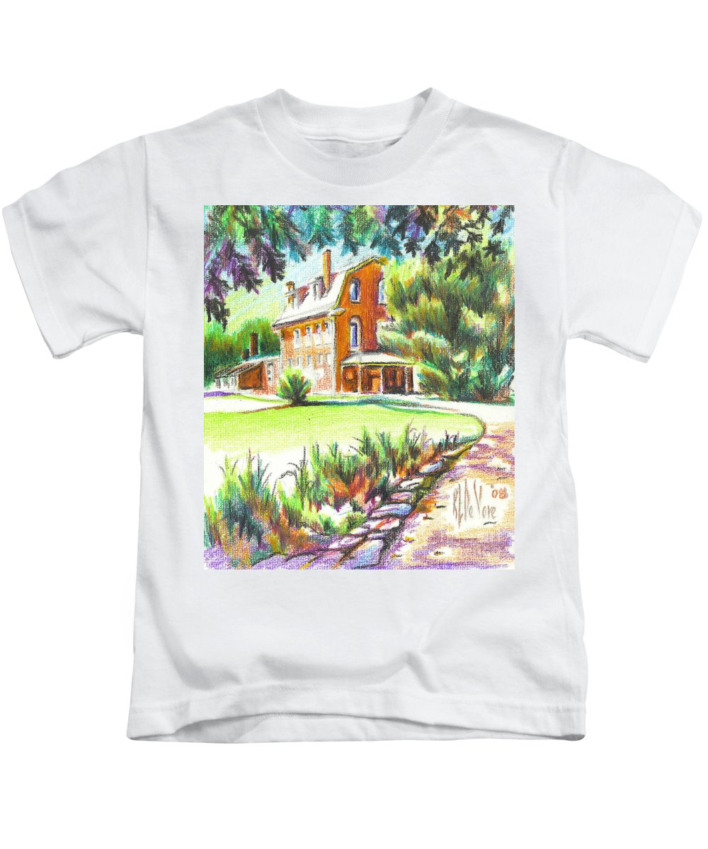 Summertime At Ursuline No C101 Kids T-Shirt featuring the painting Summertime At Ursuline No C101 by Kip DeVore