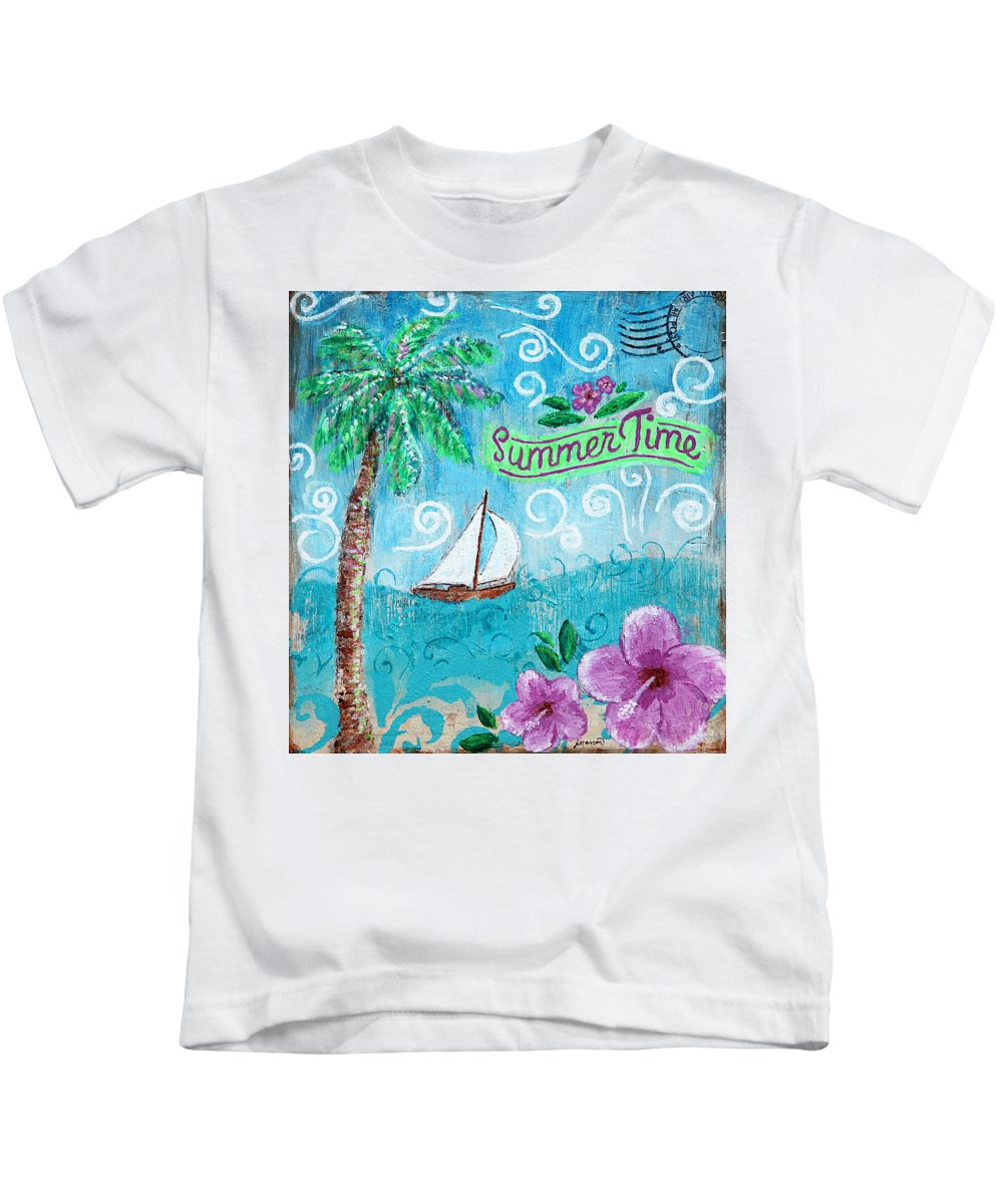 Summertime Kids T-Shirt featuring the painting Summertime by Jan Marvin