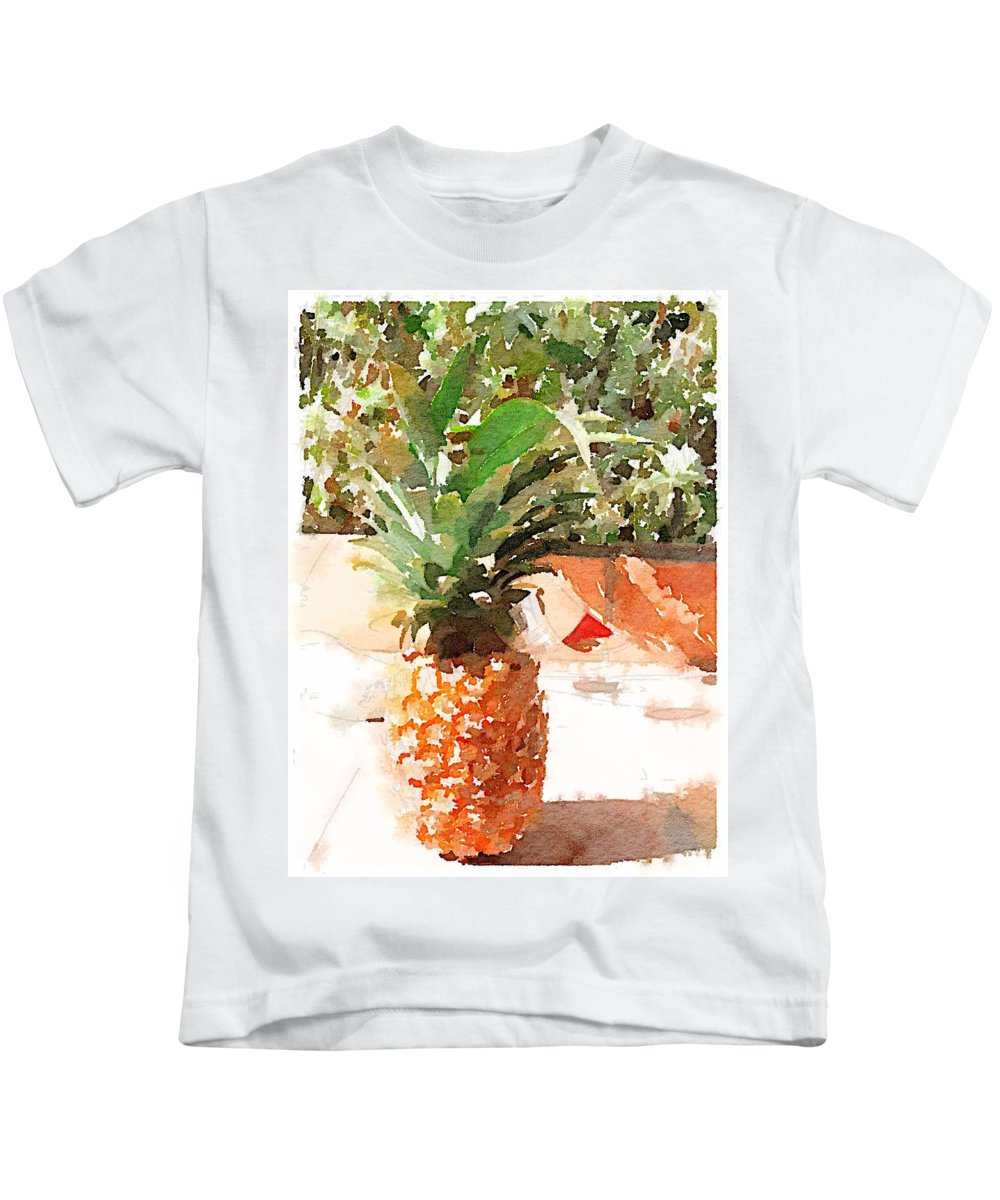 Pineapple Kids T-Shirt featuring the digital art Sunday Brunch by Shannon Grissom